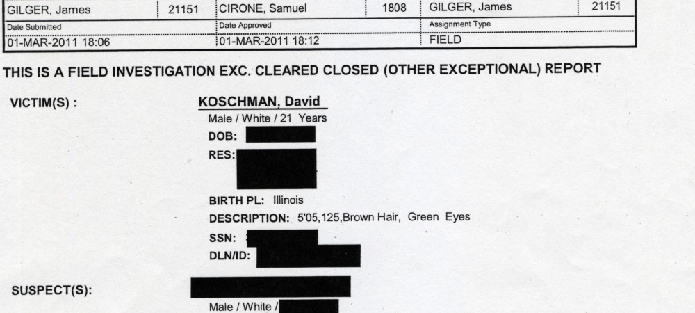The police report on the Koschman investigation.