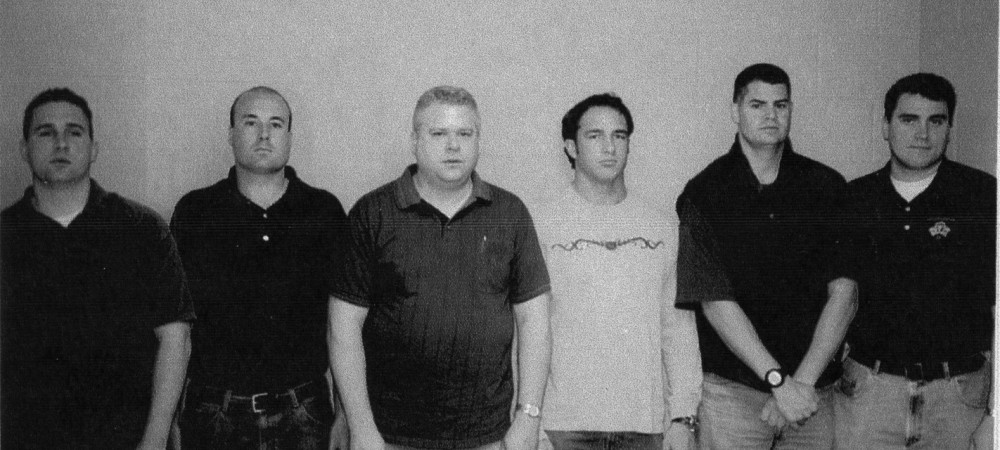 """Chicago police lineup with Richard J. """"R.J."""" Vanecko (second from left).   Chicago Police Department photo"""