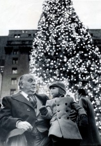 """Two-year-old Richard J. """"R.J."""" Vanecko sitting on the lap of his grandfather, Mayor Richard J. Daley, 11 days before the mayor died."""