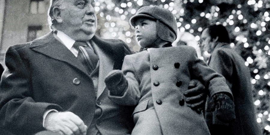 "Two-year-old Richard J. ""R.J."" Vanecko sitting on the lap of his grandfather, Mayor Richard J. Daley, 11 days before the mayor died."