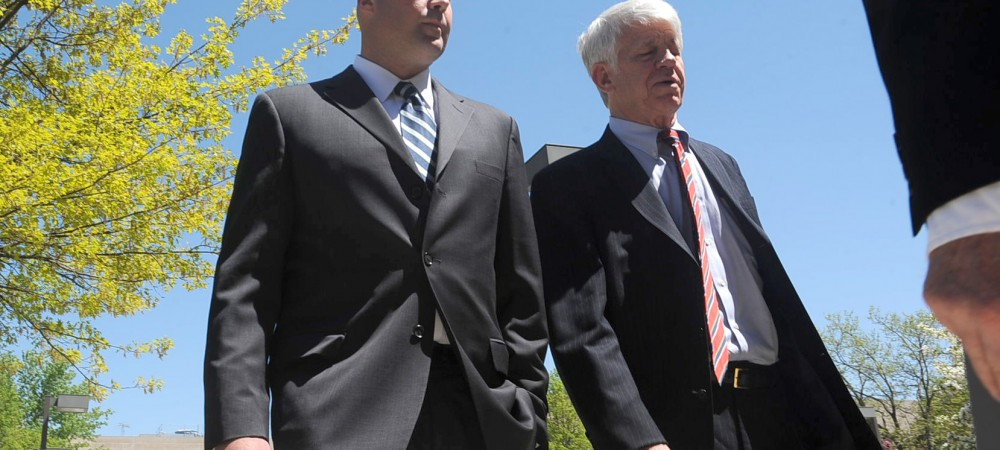 "Daley nephew Richard J. ""R.J."" Vanecko, left, with attorney Thomas Breen after an earlier hearing. 