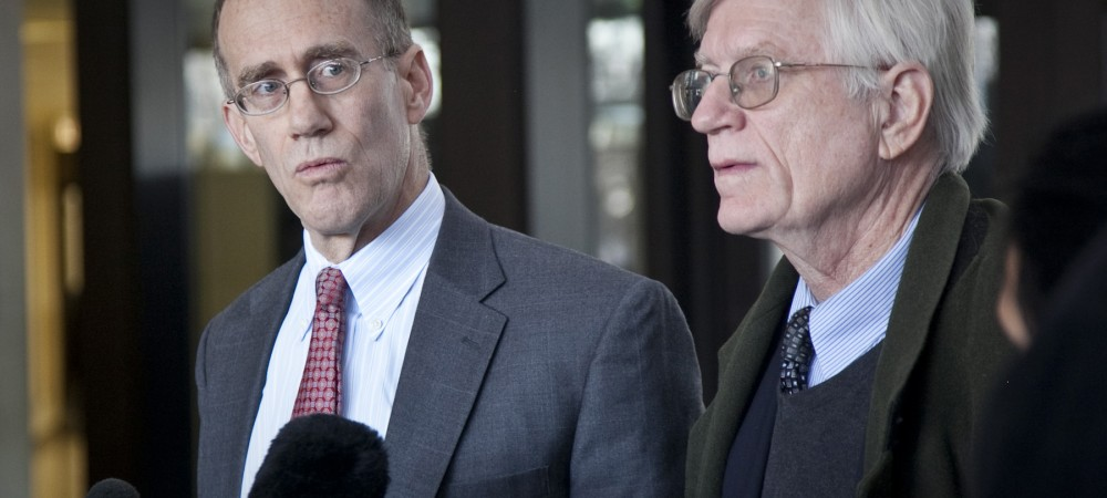 Locke Bowman (left) and G. Flint Taylor, attorneys for Nanci Koschman, speak Wednesday after Cook County Circuit Judge Michael P. Toomin declined to unseal special prosecutor's report in the David Koschman case. | Ashlee Rezin / For Sun-Times Media