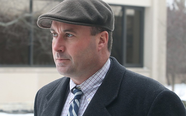 """Richard """"R.J."""" Vanecko arrives at the Cook County courthouse in Rolling Meadows on Friday.   Tim Boyle/For Sun-Times Media"""