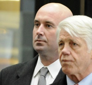 """Richard J. """"R.J."""" Vanecko (left) arrives at the Leighton Criminal Courts Building for his arraignment on involuntary manslaughters charges in death of David Koschman with his Attorney Tom Breen.    John H. White~Sun-Times"""
