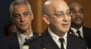 Interim police Supt. John Escalante, right, with Mayor Rahm Emanuel in late December. | Ashlee Rezin / Sun-Times