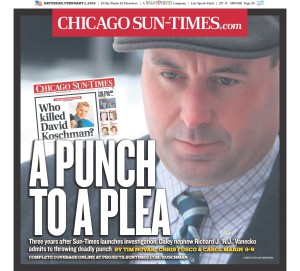 "The Sun-Times' front page after Richard J. ""R.J."" Vanecko pleaded guilty."